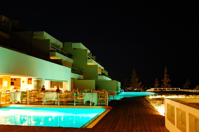 Open-air restaurant illumination of luxury hotel, Crete, Greece